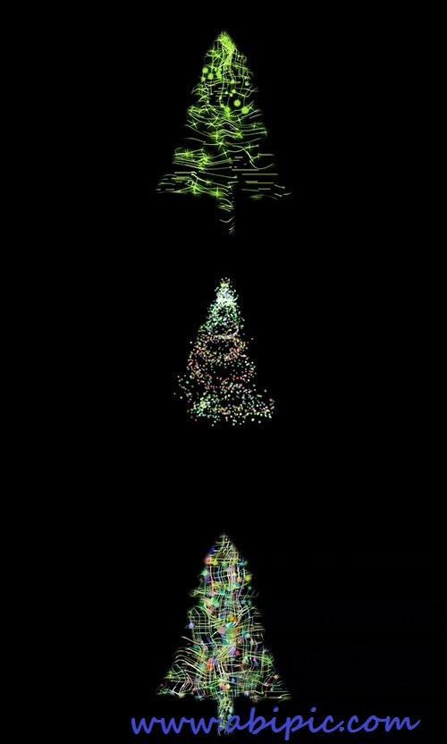 دانلود فوتیج انتزائی درخت کریسمس با پس زمینه سیاه Abstract Christmas tree