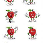 دانلود وکتور کارکتر با سیب Vector set of Apple character