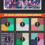دانلود پترن و الگوهای طراح پیکسلی یکپارچه 13 Set vector colorful pixelated patterns