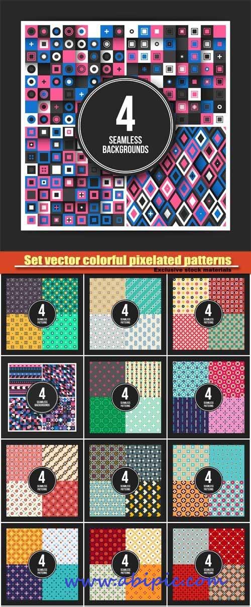دانلود پترن و الگوهای طراح پیکسلی Set vector colorful pixelated patterns