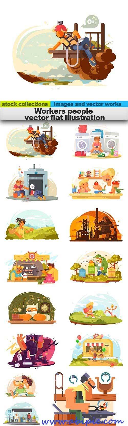 دانلود وکتور کارتونی مشاغل و کارگرها و کارمندان Workers people vector