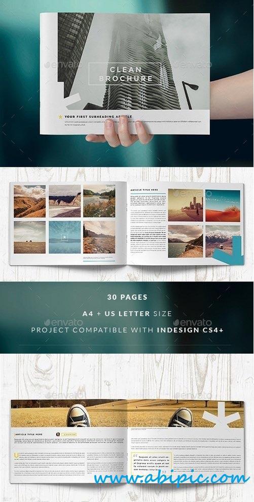 دانلود طرح آماده بروشور ایندیزاین شماره 10 Clean Brochure Catalog