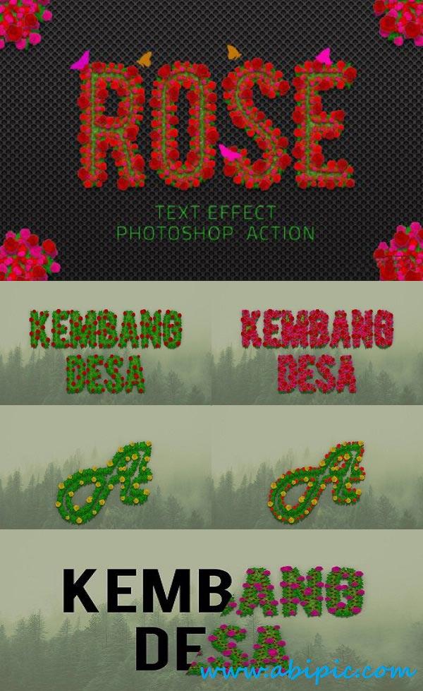 دانلود افکت متن فتوشاپ با طرح گل رز Rose Flowers Text Effect