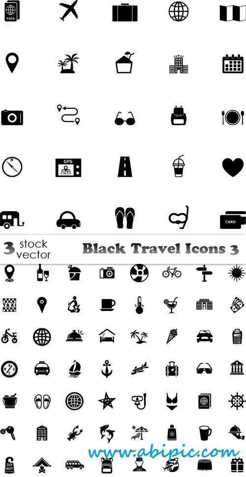 دانلود وکتور آیکون توریستی و گردشگری Vectors Black Travel Icons