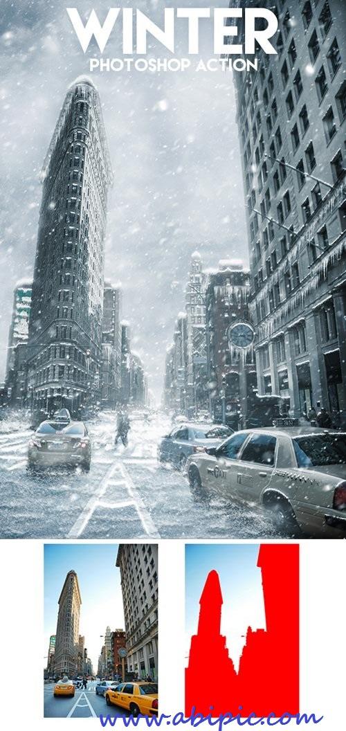 دانلود اکشن فتوشاپ حرفه ای ایجاد جلوه برف و زمستان