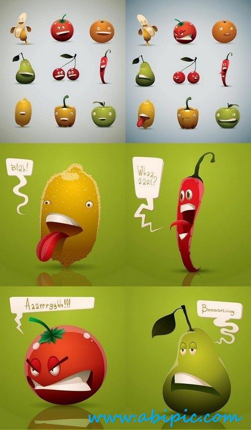 دانلود وکتور کارکترهای کارتونی از میوه ها Vector scared cartoon fruits