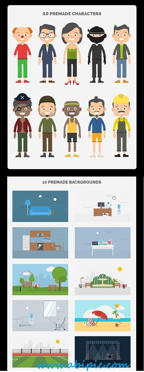 مجموعه طرح های ساخت کارکتر در افترافکت Character Maker Video Toolkit