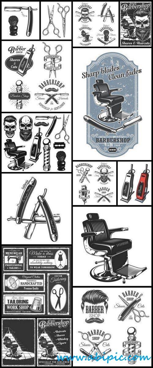 دانلود وکتور آرایشگاه و لوازم آرایشگاه Vector Stock Barber shop
