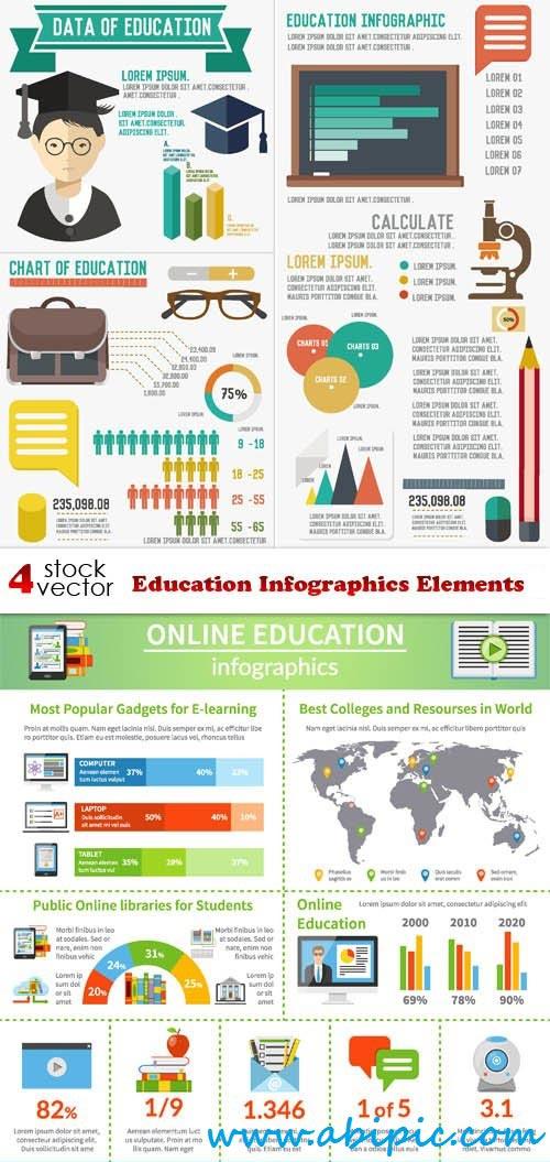 دانلود وکتور علایم اینفوگرافی آموزشی Education Infographics Elements