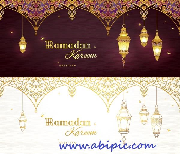 دانلود وکتور کارت با طرح ماه رمضان Ramadan Cards
