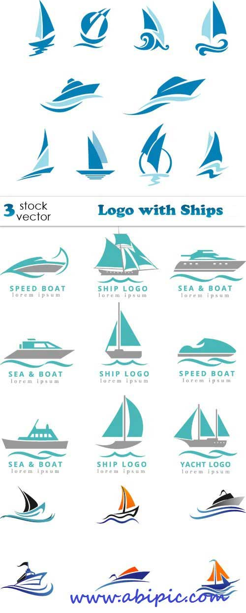 دانلود وکتور لوگو با طرح کشتی Vectors - Logo with Ships