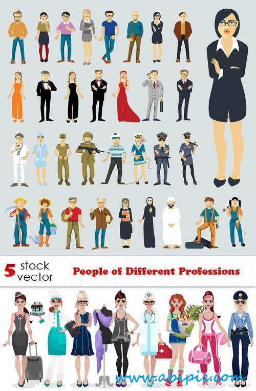 دانلود وکتور مردم در حرفه های مختلف Vectors People of Different Professions