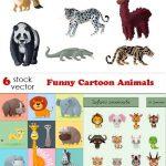 دانلود طرح وکتور کارتونی حیوانات Vectors Funny Cartoon Animals