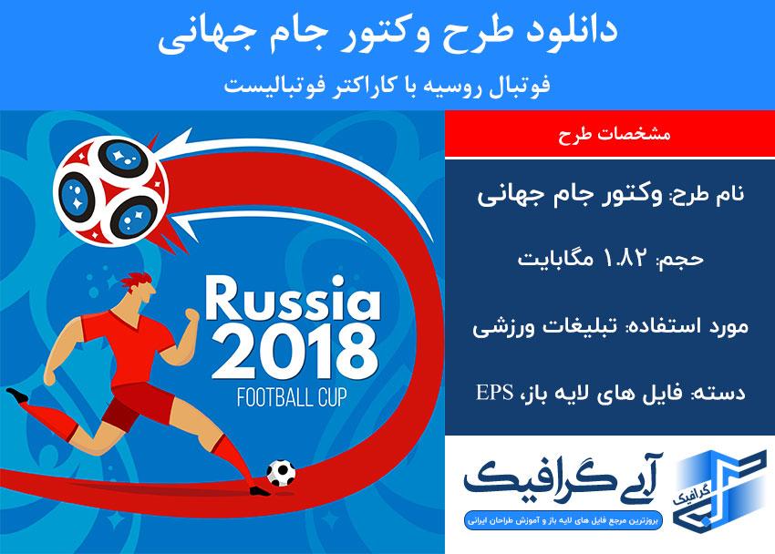 دانلود طرح وکتور جام جهانی فوتبال روسیه با کاراکتر فوتبالیست