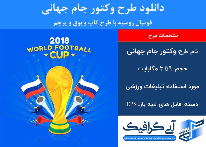 دانلود طرح وکتور جام جهانی فوتبال روسیه با طرح کاپ و بوق و پرچم