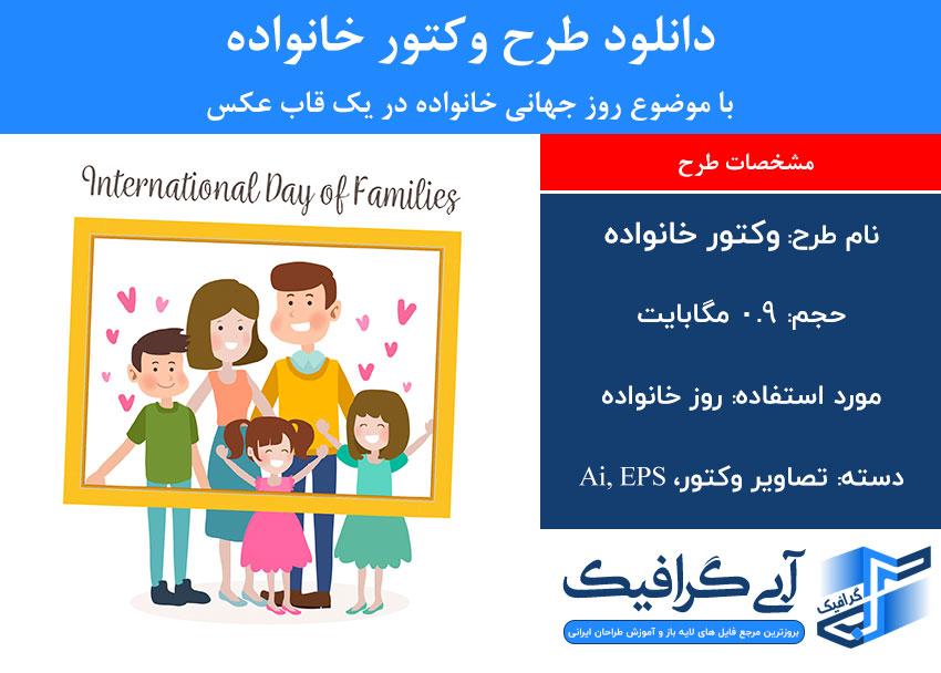دانلود طرح وکتور خانواده با موضوع روز جهانی خانواده در یک قاب عکس