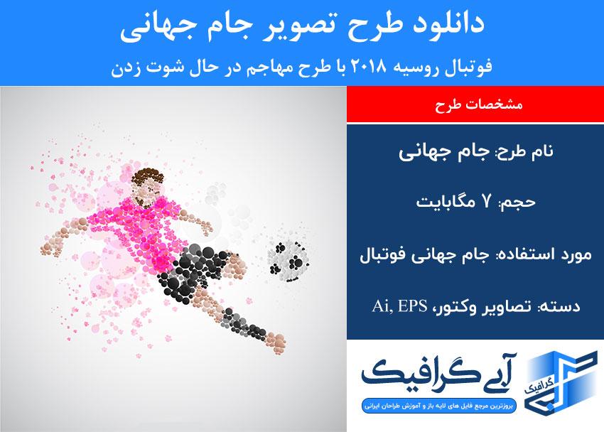 دانلود طرح تصویر جام جهانی فوتبال روسیه 2018 با طرح مهاجم در حال شوت زدن