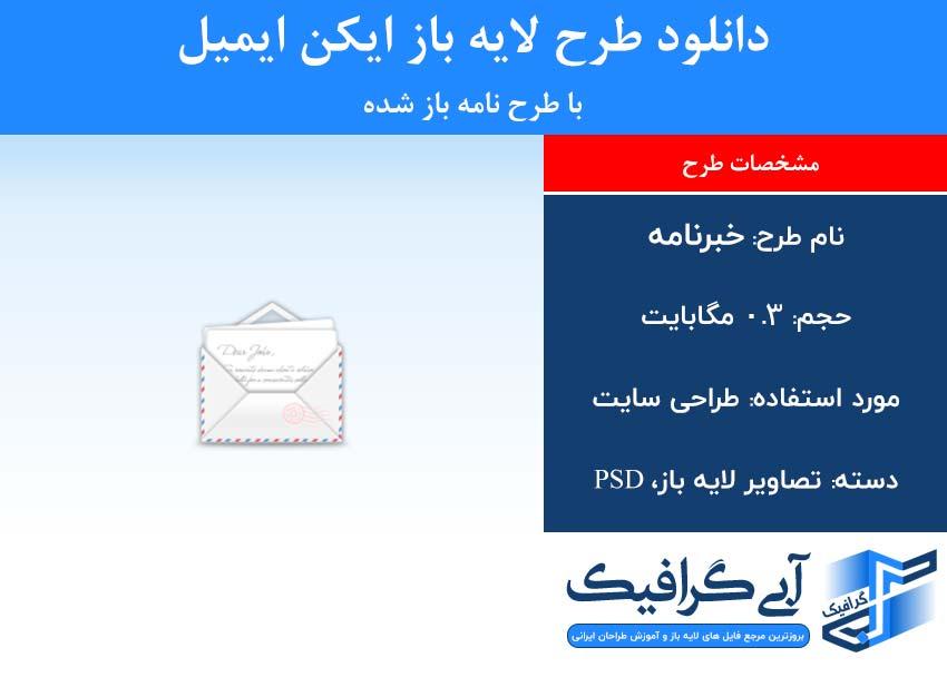 دانلود طرح لایه باز ایکن ایمیل با طرح نامه باز شده