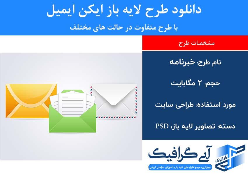 دانلود طرح لایه باز ایکن ایمیل با طرح متفاوت در حالت های مختلف